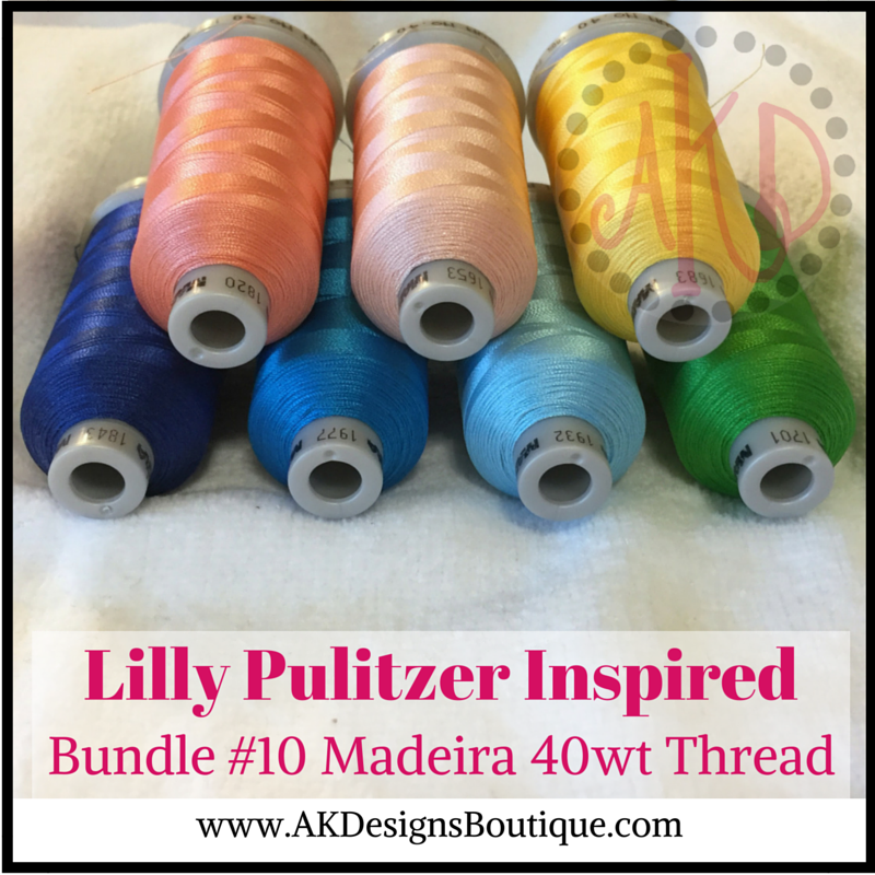 Bundle #10 Lilly P Inspired Madeira Polyneon Polyester 40 weight Thread Spools - 1100 yards each