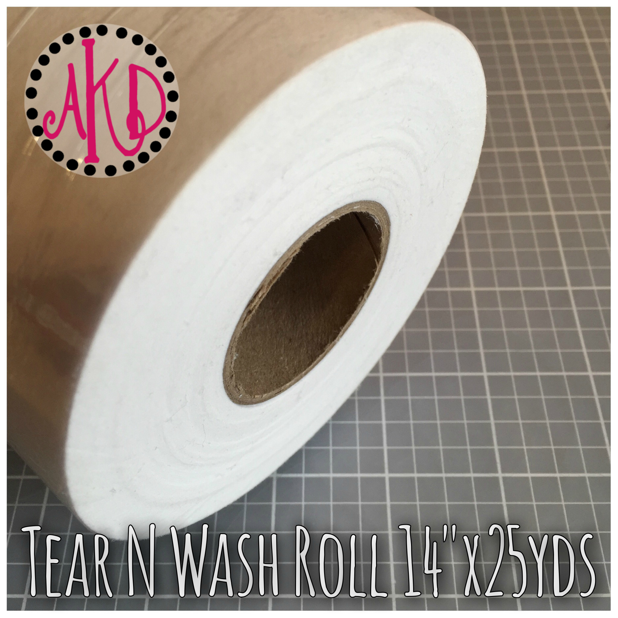 "Tear N Wash Away Stabilizer or Backing  Roll 14"" x 25 yards WHITE"