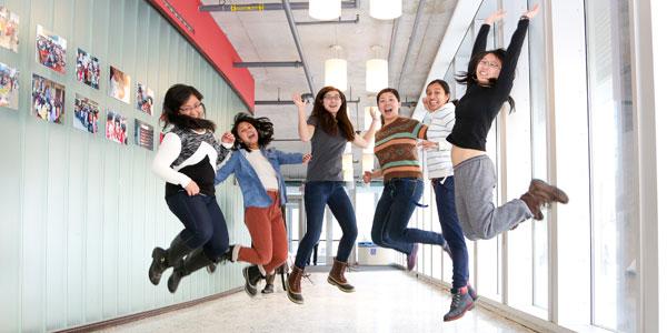 Engineering students having fun on a photoshoot