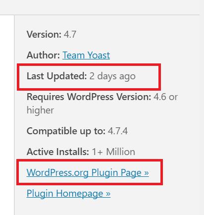 The plugin details sidebar