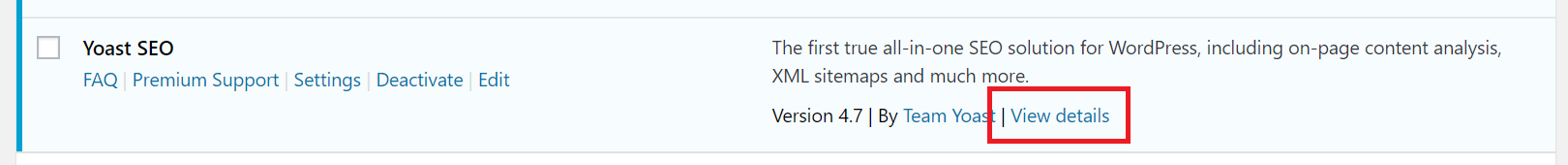 """A single plugin on the """"Plugins"""" page, highlighting the """"View details"""" button"""