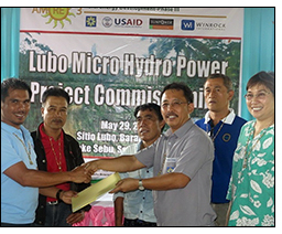 Winrock-implemented AMORE develops micro hydropower grid for upland village.