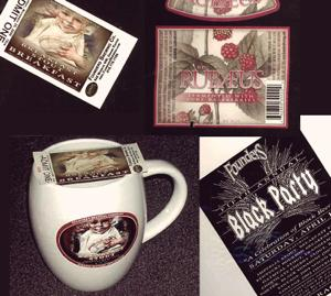Examples of the types of goods we're looking for. Clockwise from top left: A ticket to the 2006 Breakfast Stout Breakfast, a Rübæus label, a poster from the 2005 Black Party, and an old Breakfast Stout Breakfast mug.