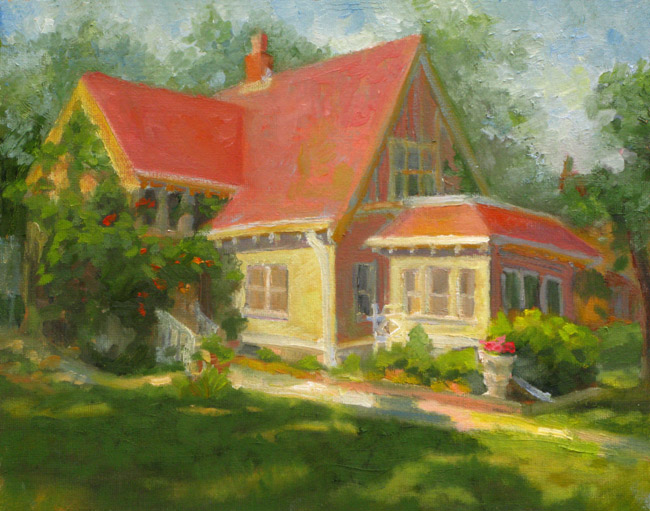 House with Trumpet Vines by Judith Reidy