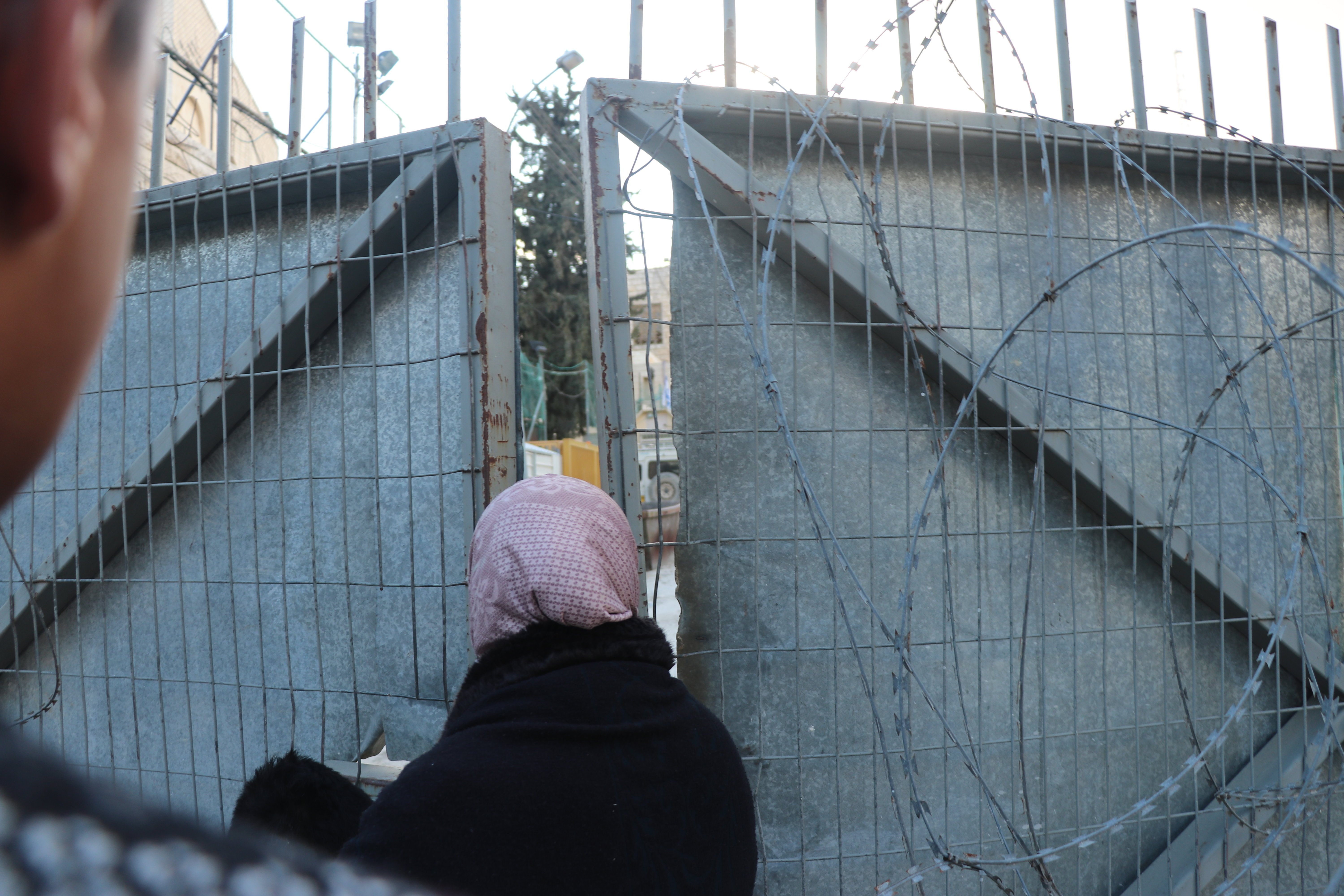 Image: A mother watches through a barbed wire gate as her son is arrested and taken by the Israeli Military into the unknown.
