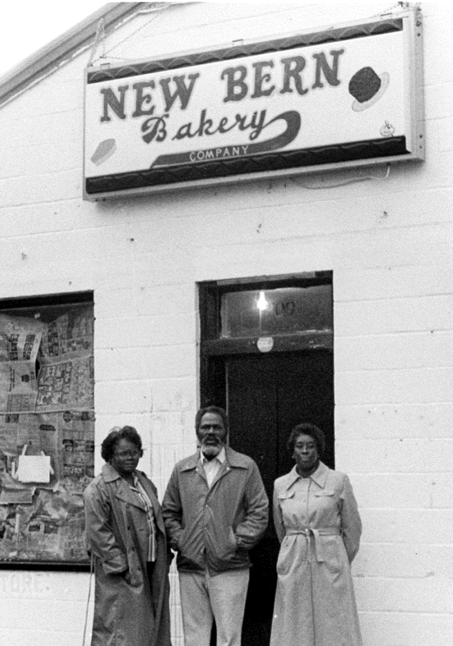 Early Self-Help supporters outside the New Bern Bakery in 1977