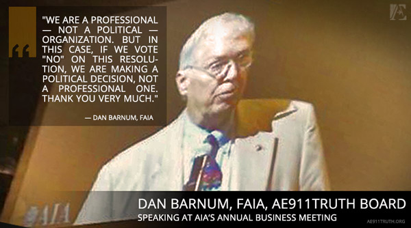 Dan Barnum, FAIA, AE911Truth Board of Directors