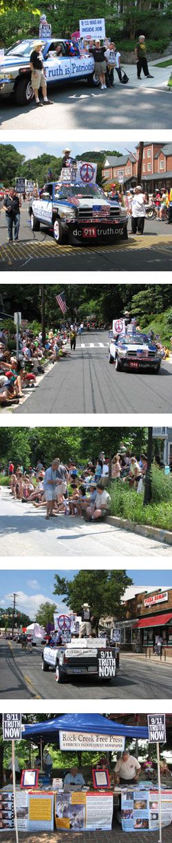 9/11 Truth Mobile rides again in Takoma Park, Md on July 4th