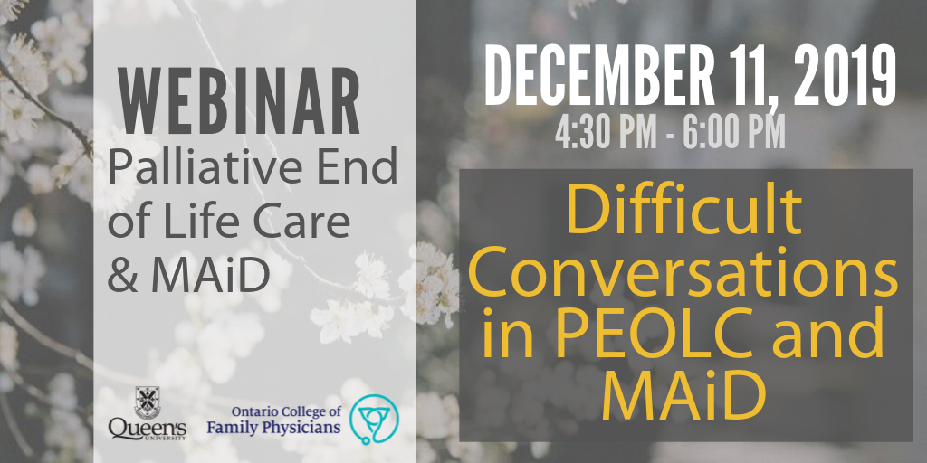 December 11 - Difficult conversations in PEOLC and MAiD