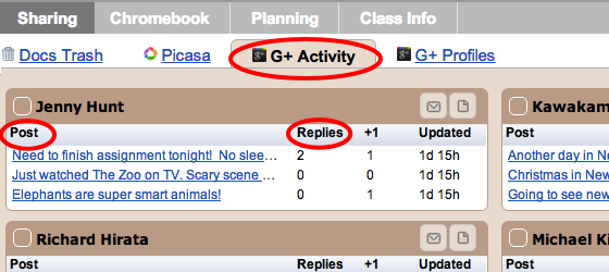 Google+ Activity - shown in the Sharing Tab