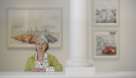 Artist Sue Jane Taylor at the Age of Oil exhibition (c) Neil Hanna