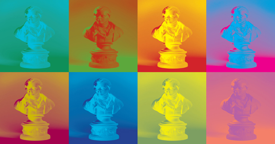 Multi-coloured image of a statue of Burns