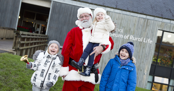 Children with Father Christmas at the National Museum of Rural Life