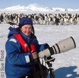 Sue Flood on location at Snow Hill Island Emperor penguin colony (c) Sue Flood