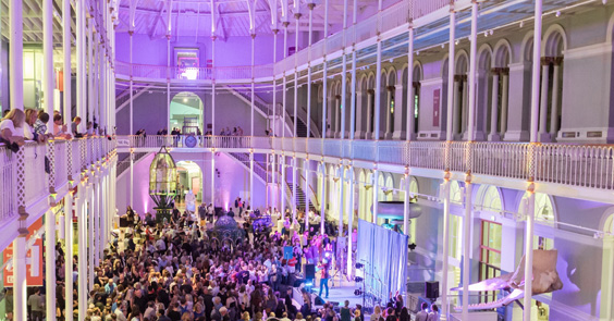 Guests in the Grand Gallery enjoying events after hours at the National Museum of Scotland copyright Chris Scott