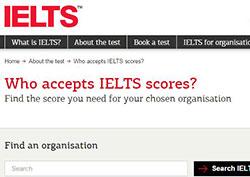 Who accepts IELTS scores?