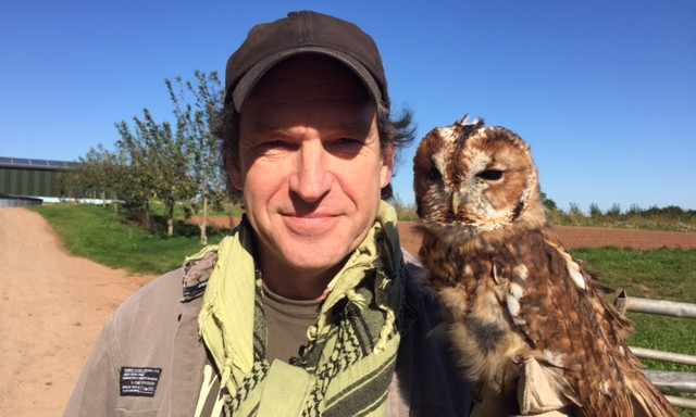 Chris Sperring MBE with an owl