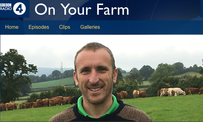 Screenshot from BBC iPlayer On Your Farm programme, showing Luke Hasell