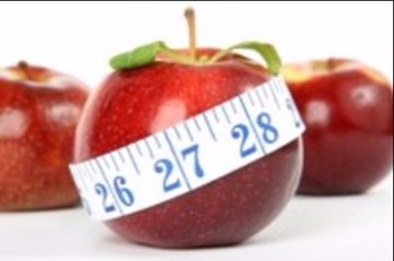 Photo of an apple with tape measure