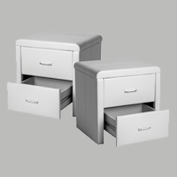 two drawer white leatherette pedestal set