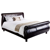 isabella faux leather sleigh bed