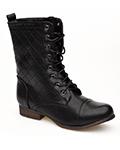 ladies dolce vita black quilt military boot