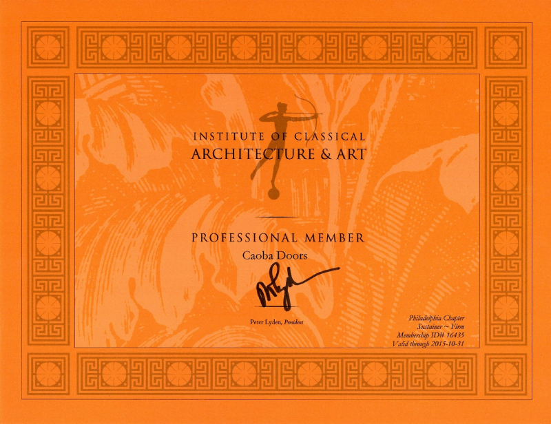 2015 Certificate of the Institute of Classical Architecture & Arts
