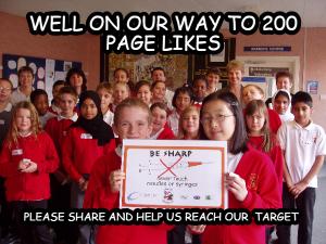 children holding up a sharps poster