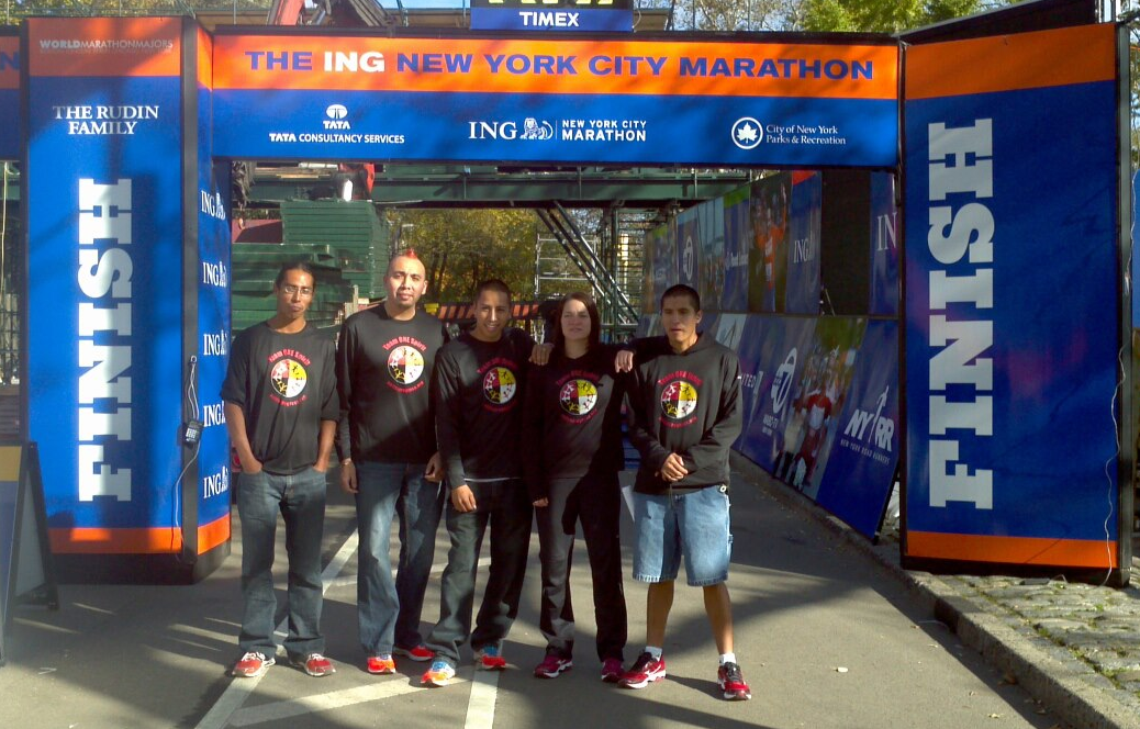 Runners at the NY Marathon finish line