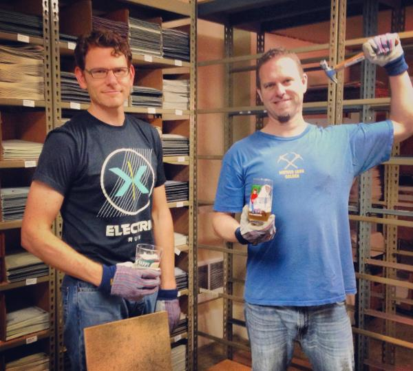 Jim and Murray expanding the warehouse
