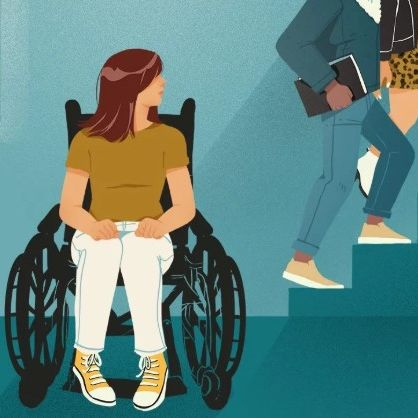 Graphic of a person sitting in a wheelchair watching people walk up stairs to their left