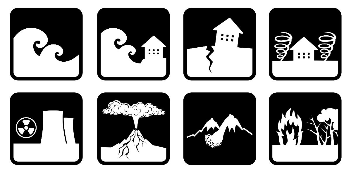 A graphic showing eight natural disasters: flood, tsunami, earthquake, tornado, nuclear disaster, volcano, avalanche, forest fire