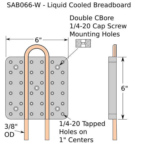 Solid aluminum water cooled optical breadboard schematic diagram