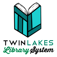 Blue book with the letters T and L. Twin Lakes library System