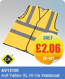 CK Tools AV13100 Avit Yellow XL Hi-Vis Waistcoat