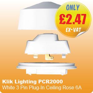 Klik Lighting PCR2000 White 3 Pin Plug-In Ceiling Rose 6A