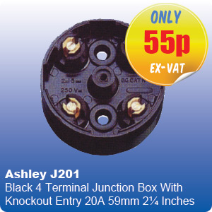Ashley J201 Black 4 Terminal Junction Box With Knockout Entry 20A 59mm 2¼ Inches