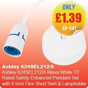 Ashley 624SEL212/6 Kleva White T2 Rated Safety Enhanced Pendant Set