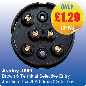 Ashley J601 Brown 6 Terminal Selective Entry Junction Box 20A 89mm 3½ Inches
