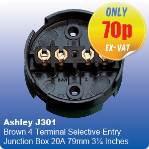 Ashley J301 Brown 4 Terminal Selective Entry Junction Box 20A 79mm 3¼ Inches
