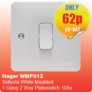 Hager WMPS12 Sollysta White Moulded 1 Gang 2 Way Plateswitch 10Ax