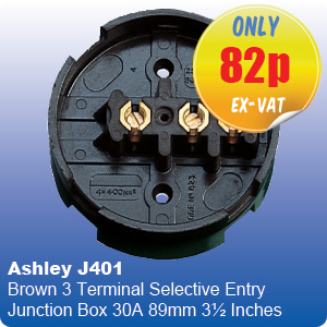 Ashley J401 Brown 3 Terminal Selective Entry Junction Box 30A 89mm 3½ Inches