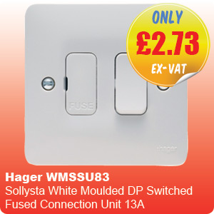 Hager WMSSU83 Sollysta White Moulded DP Switched Fused Connection Unit 13A