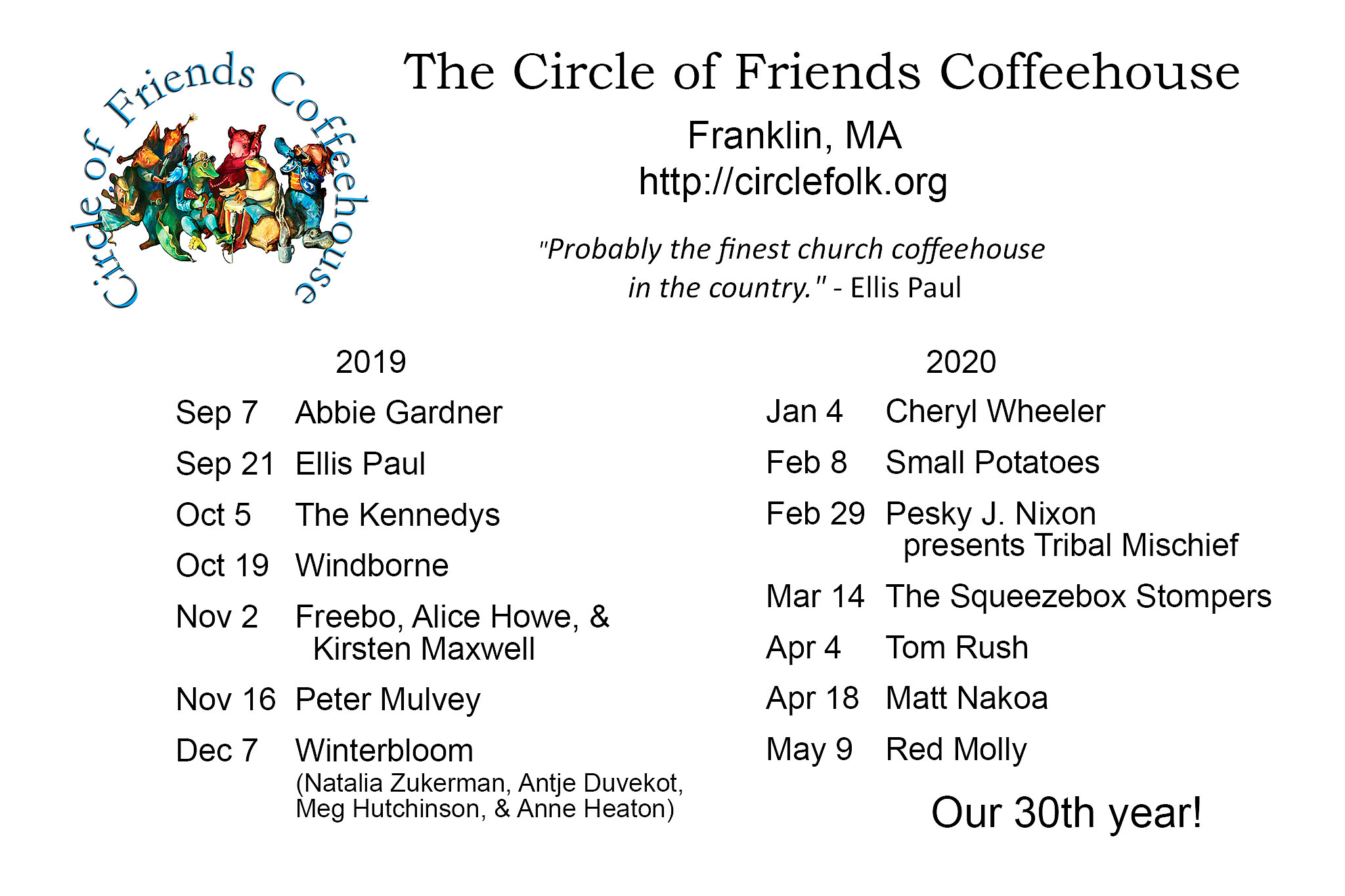 Circle of Friends Coffeehouse: 30th Season!