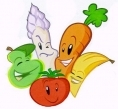 Vegetables and fruits with cartoon faces