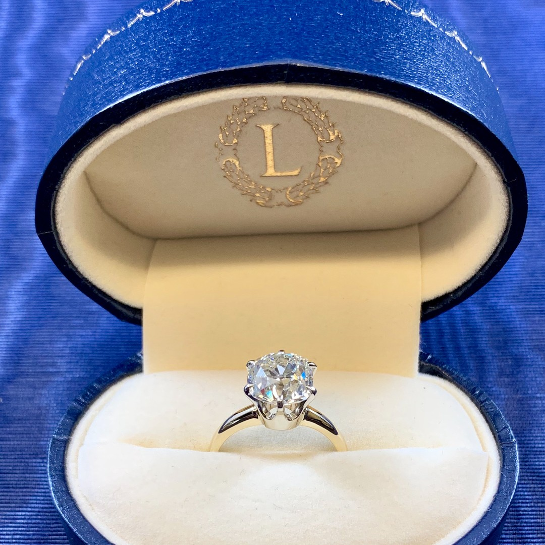 In the shop today is a lovely hand cut diamond ring with 14k gold. This one is certified and guaranteed to turn heads and stop hearts. 3.71ct OMC K VS-1 in 14k GIA Cert