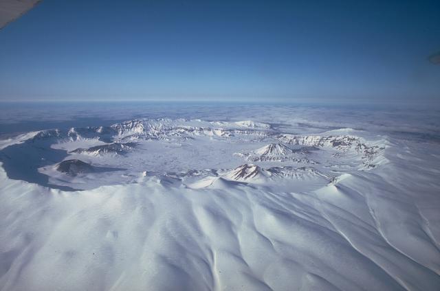 Snow-covered Mt. Okmok