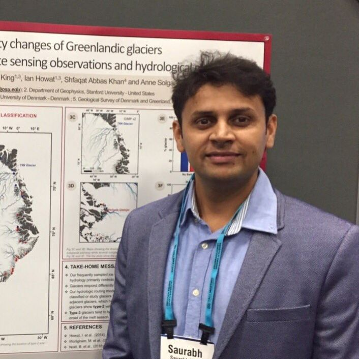 Dr. Saurabh Vijay standing in front of a research poster