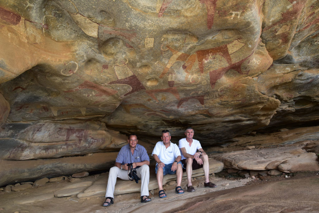 Rainer, Tom and Albert in front of the cave paintings of Las Geel, Somaliland