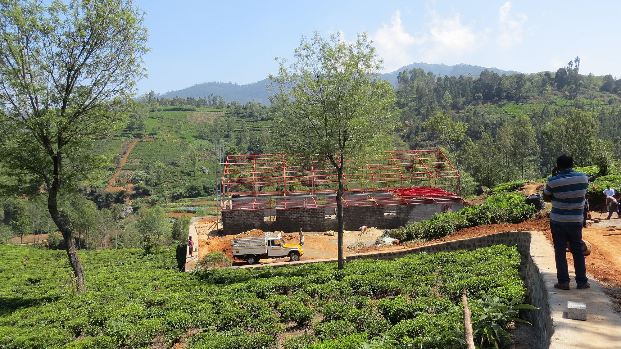 Tea Studio factory in beginning stages of construction in the Nilgiri Mountains- young mountain tea